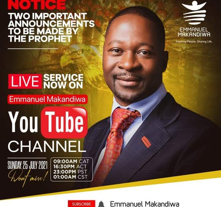 TWO IMPORTANT ANNOUNCEMENTS BY EMMANUEL MAKANDIWA